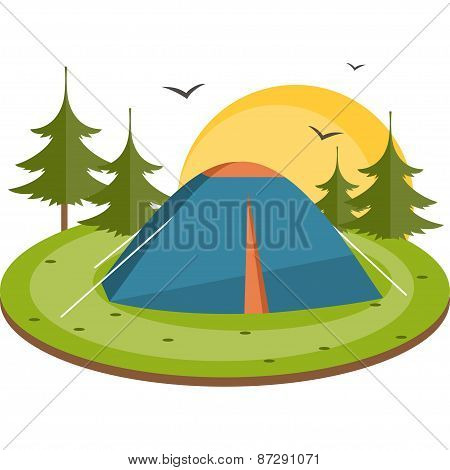 Tent In The Meadow. Flat Vector Illustration