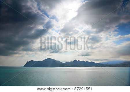 Dramatic Sea With Island