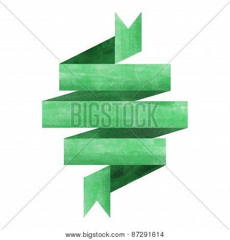 Green Watercolor Ribbon