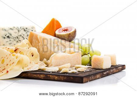 Various types of cheese on white background, still-life.