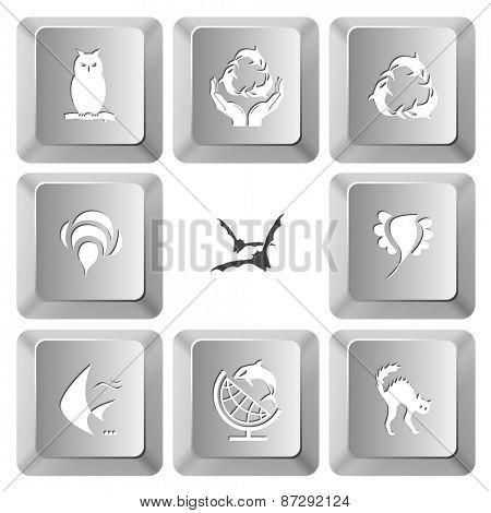 Animal set. Raster set computer keys.