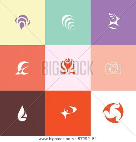 Abstract set. Flat color raster icons.