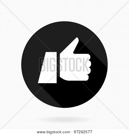 Thumb Up Vector Flat Icon with Shadow