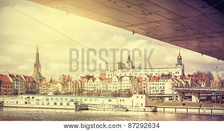 Retro Stylized Panoramic View Of Szczecin.