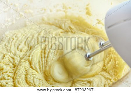 detailed view of the dough mixing