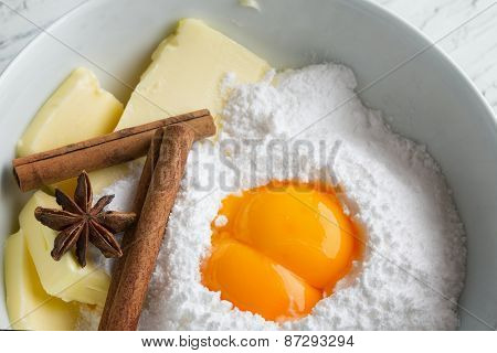 some ingredients for the manufacture of homemade sweet pastry