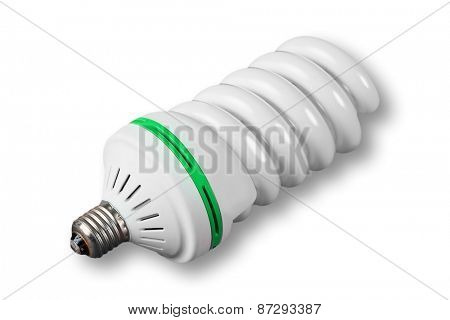 Economic light bulb on white background (green power)