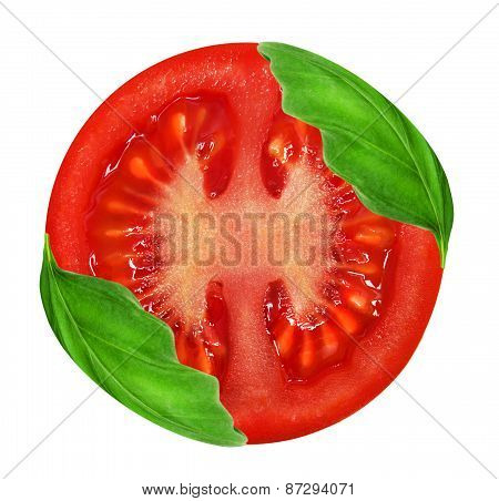 Fresh red tomato and basil leaves