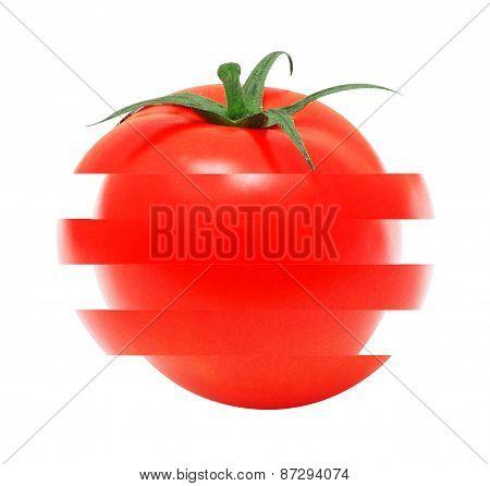 Juicy sliced tomato on isolated background