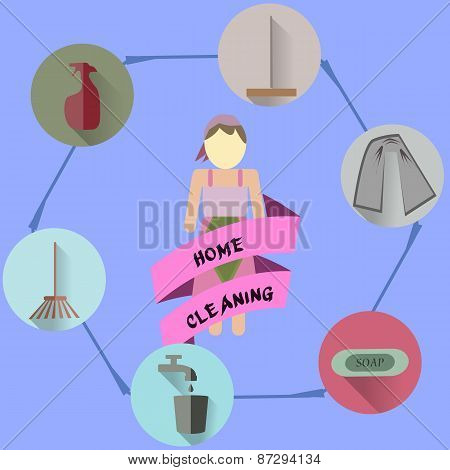 Women hold cleaning the house. With items for cleaning. The home