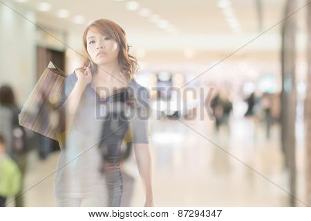 double exposure of shopping woman in the mall.