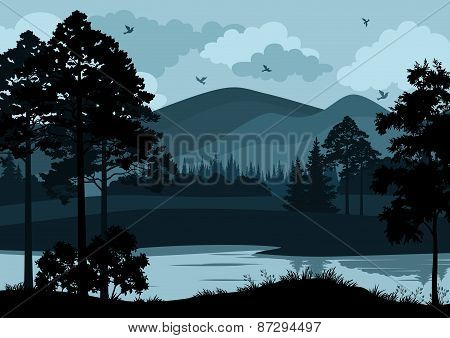 Landscape, Trees, Lake and Mountains