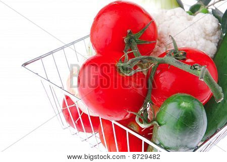 Fresh Ripe Vegetables On White