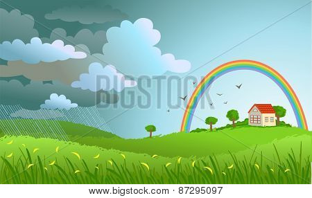 Landscape with the small house -  a rain  passed and the rainbow appeared.