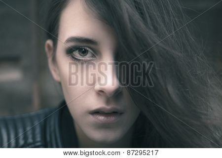 Woman With Long Hair Covering Half Face