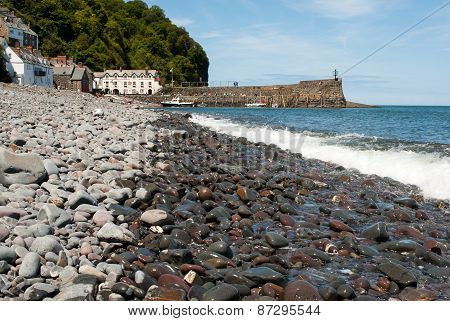 Pebble Beach with Clovelly, UK in the background