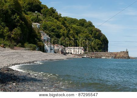 Clovelly, Cornwall, with beach in foreground
