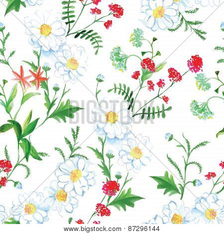 Red Flowers And Camomiles Seamless Vector Print