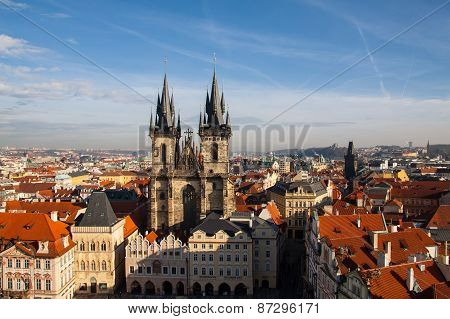 Aeral view of the Tyn Church and  Old Town Square  in Prague