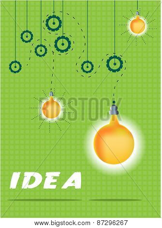 Green, business card with pattern, text Idea, hanging yellow, orange lightbulbs