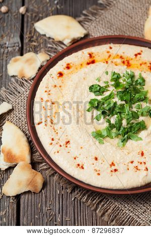 Creamy hummus in clay rustic plate served with pita, paprika, oil and parsley