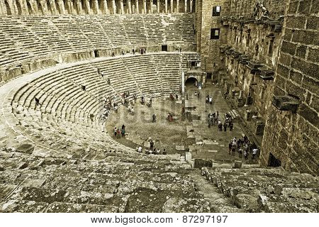 Aspendos, Antalya, Turkey- 28 October 2012: Archaeological Ruins Of Ancient Amphitheater In Aspendos