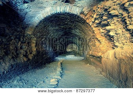 Tunnel Of Ancient City Nysa, Aydin, Turkey.