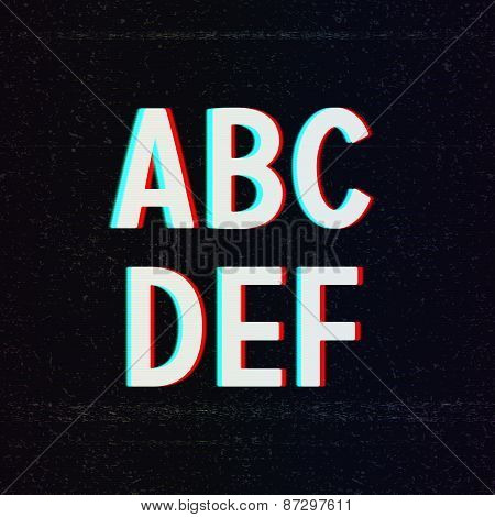 Vector Font with TV Stereo Effect. From A to F