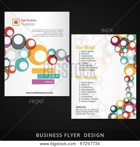 flyer template design with colorful multiple circles flowing inside vector