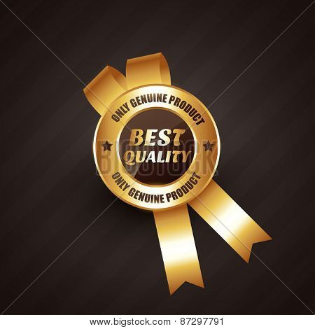 best quality golden rosette label badge design vector illustration