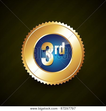 third number vector golden badge design illustration