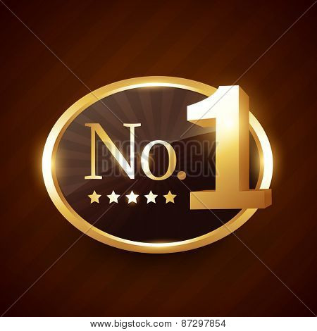 number one brand golden label vector design illustration
