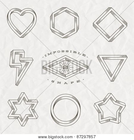 Vector set of line art tattoo style impossible shapes on a crumpled paper background