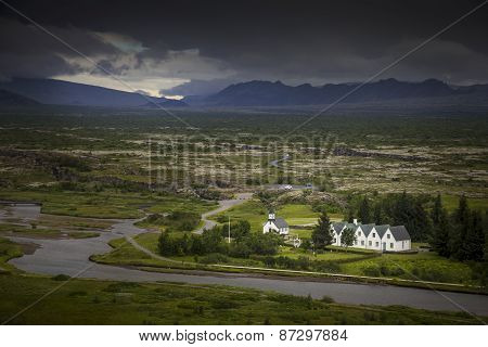 Icelandic houses and landscape