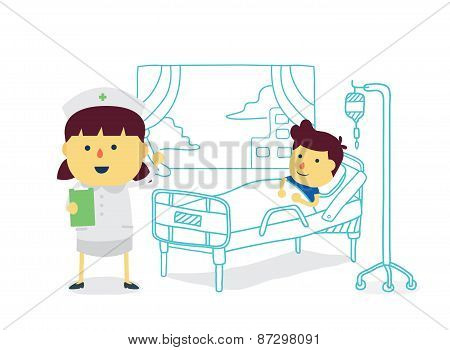 Nurse and patient in hospital