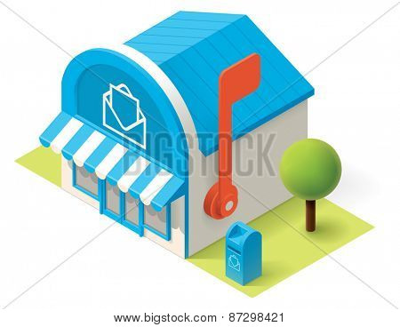 Vector isometric post office building icon