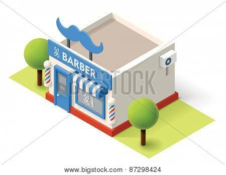 Vector isometric barbershop building icon