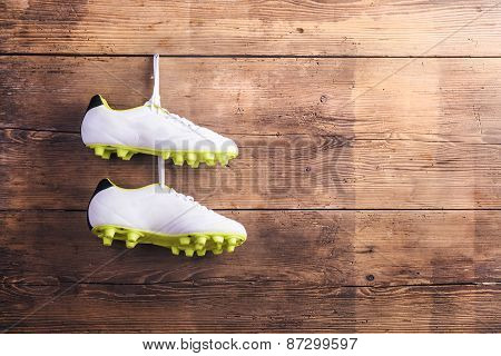 Football shoes on the floor