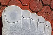 picture of soles  - Type of one original pavement symbolizing a human out sole with fingers - JPG