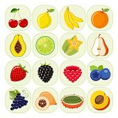 picture of food  - Set of different kinds of fruit icons - JPG