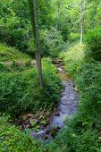 pic of naturel  - Small creek running through the pyrenees in Boussenac in France - JPG