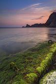 stock photo of crimea  - Beautiful sunrise on the beach in the Crimea  - JPG