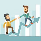 foto of stand up  - Two hipster Caucasian businessmen with beard standing working together to reach their quota in sales with the arrow up showing that they are successful - JPG