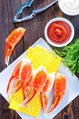stock photo of claw  - boiled crab claws on the white plate - JPG