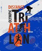 image of triathlon  - Vector illustration of a triathlon - JPG
