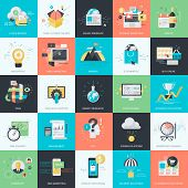 foto of e-business  - Set of flat design style concept icons for graphic and web design - JPG