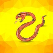 picture of anaconda  - Red Snake Ready to Attack on Yellow Polygonal Background - JPG