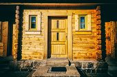 stock photo of house woods  - classical wooden house in the mountain village - JPG