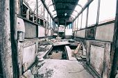 foto of wagon  - Interior of an old abandoned railway wagon - JPG