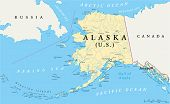 picture of arctic fox  - US State Alaska Political Map with capital Juneau - JPG